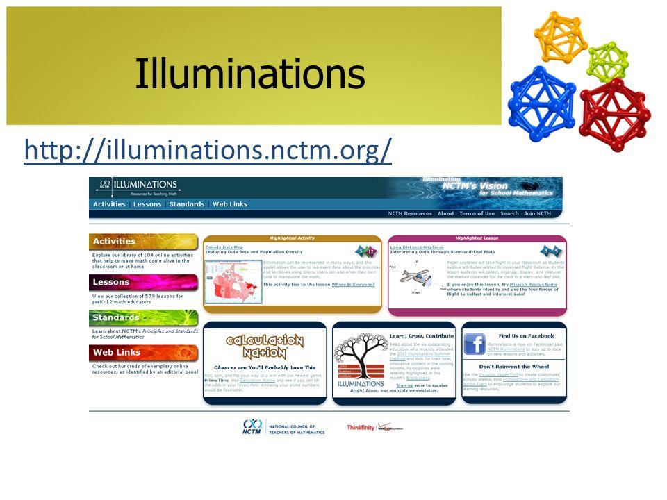 Illuminations http://illuminations.nctm.org/