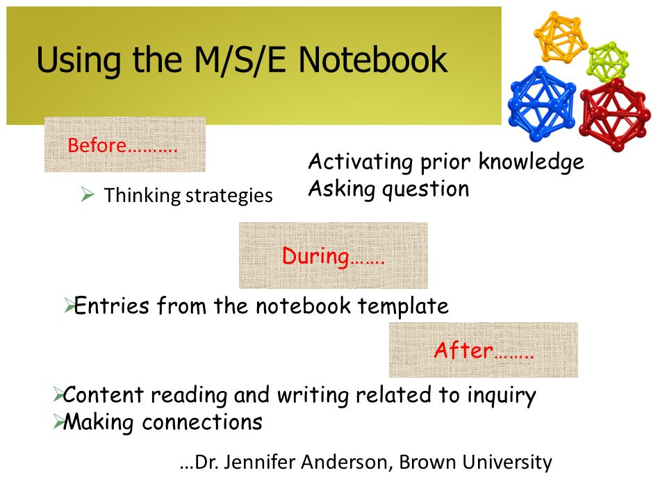 Using the M/S/E Notebook Thinking strategies Before……….