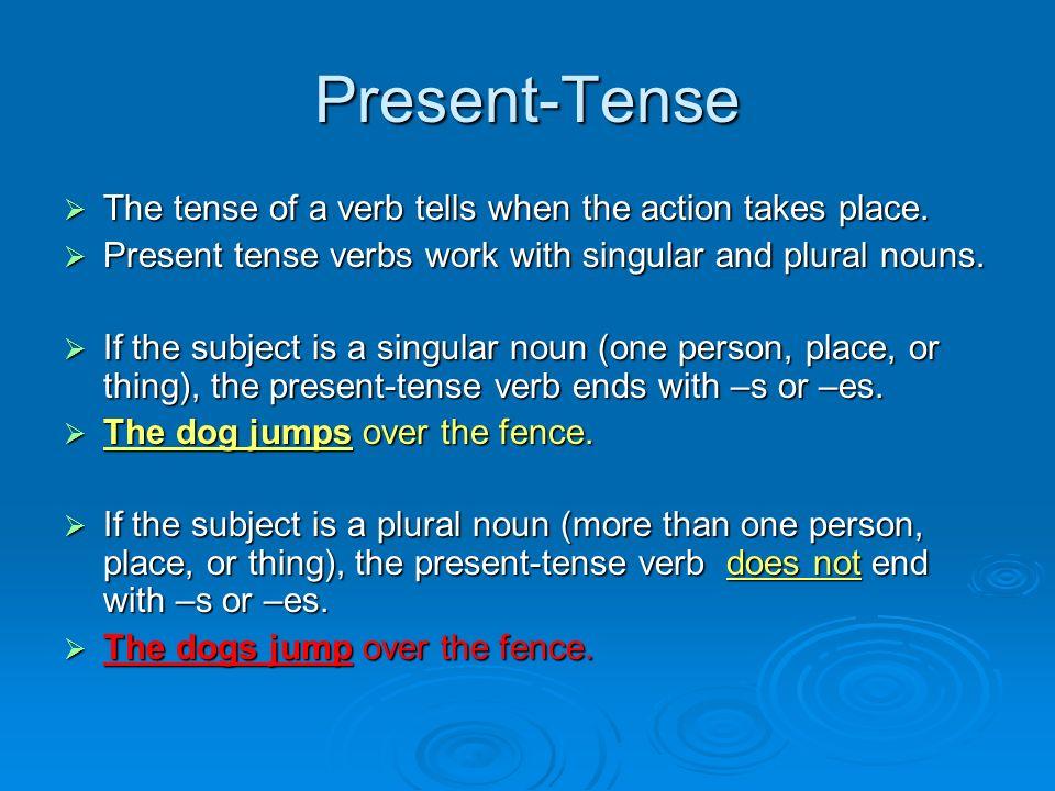 Present-Tense Verbs Second Grade Grammar Taken From Jefferson County Website