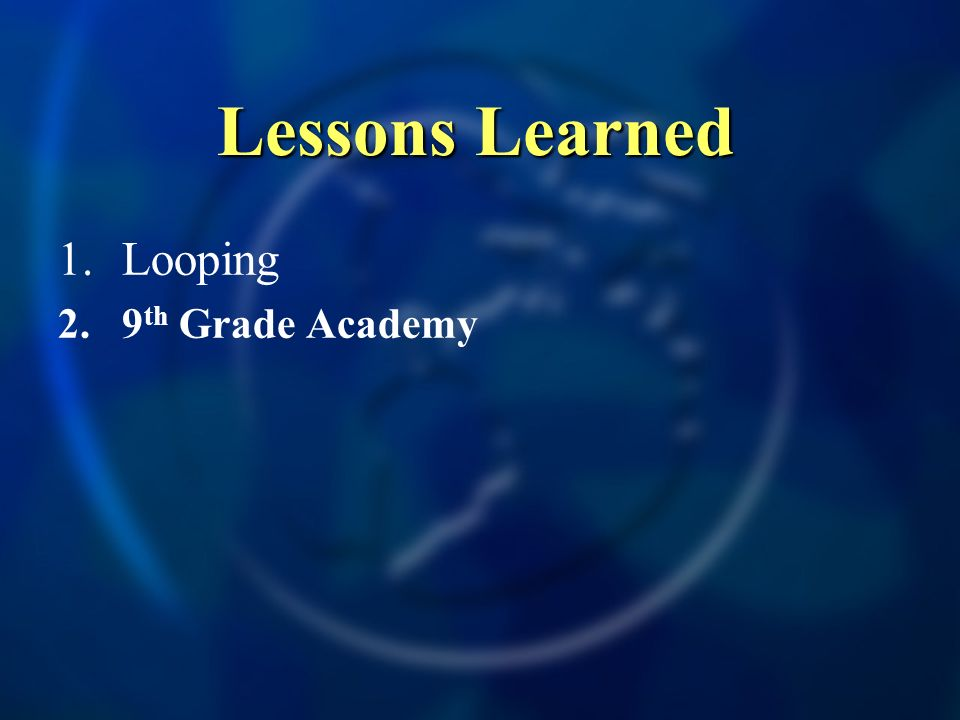 Lessons Learned 1.Looping 2.9 th Grade Academy