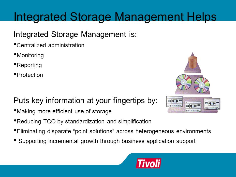 Integrated Storage Management Helps Integrated Storage Management is: Centralized administration Monitoring Reporting Protection Puts key information at your fingertips by: Making more efficient use of storage Reducing TCO by standardization and simplification Eliminating disparate point solutions across heterogeneous environments Supporting incremental growth through business application support