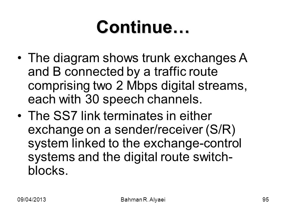 09/04/2013Bahman R. Alyaei95 Continue… The diagram shows trunk exchanges A and B connected by a traffic route comprising two 2 Mbps digital streams, e