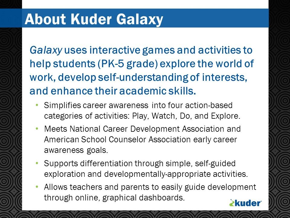 About Kuder Galaxy Galaxy uses interactive games and activities to help students (PK-5 grade) explore the world of work, develop self-understanding of