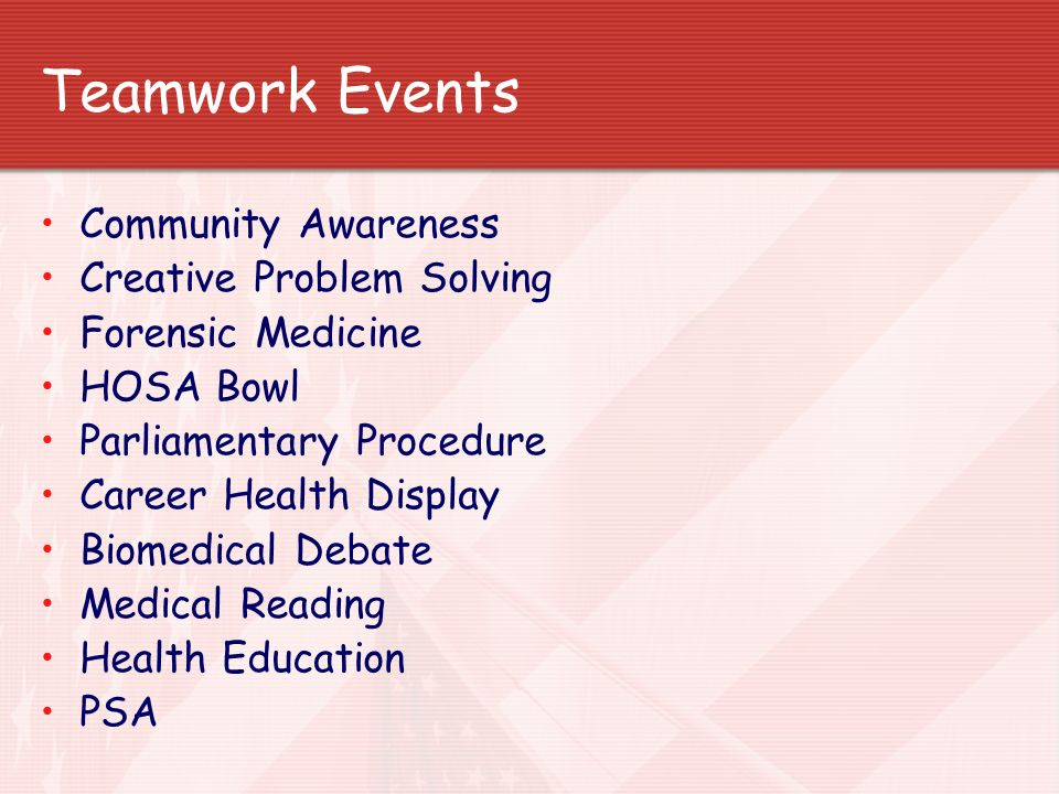 Teamwork Events Community Awareness Creative Problem Solving Forensic Medicine HOSA Bowl Parliamentary Procedure Career Health Display Biomedical Deba