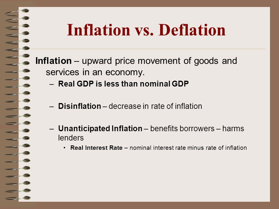 Inflation vs. Deflation Inflation – upward price movement of goods and services in an economy. –Real GDP is less than nominal GDP –Disinflation – decr