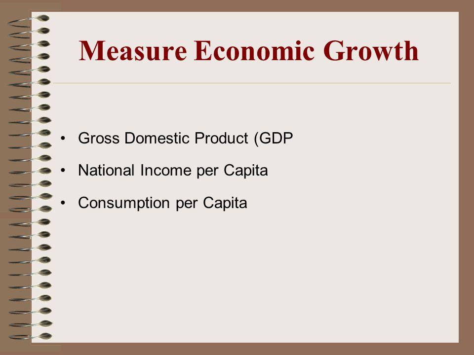 Measure Economic Growth Gross Domestic Product (GDP National Income per Capita Consumption per Capita