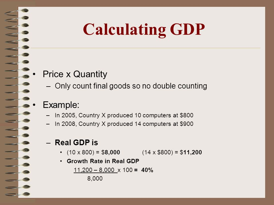 Calculating GDP Price x Quantity –Only count final goods so no double counting Example: –In 2005, Country X produced 10 computers at $800 –In 2008, Co