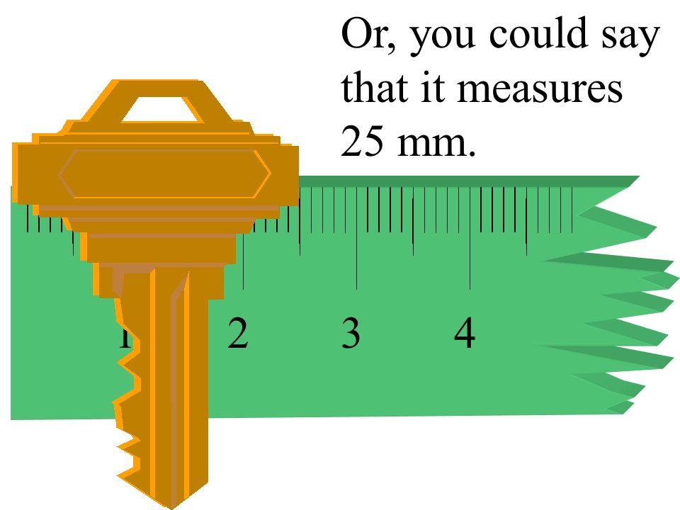 1234 This key measures 2.5 cm.