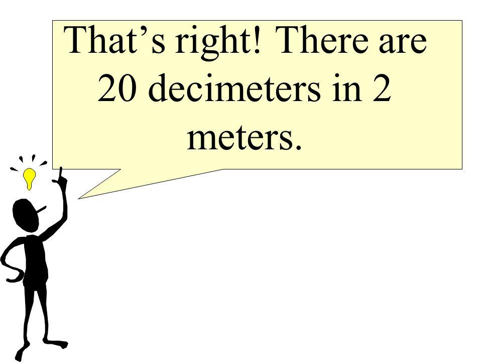 How many decimeters make up 2 meters?