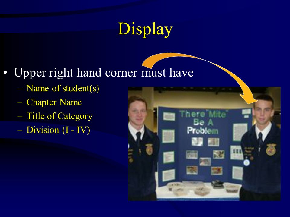 Upper right hand corner must have –Name of student(s) –Chapter Name –Title of Category –Division (I - IV) Display