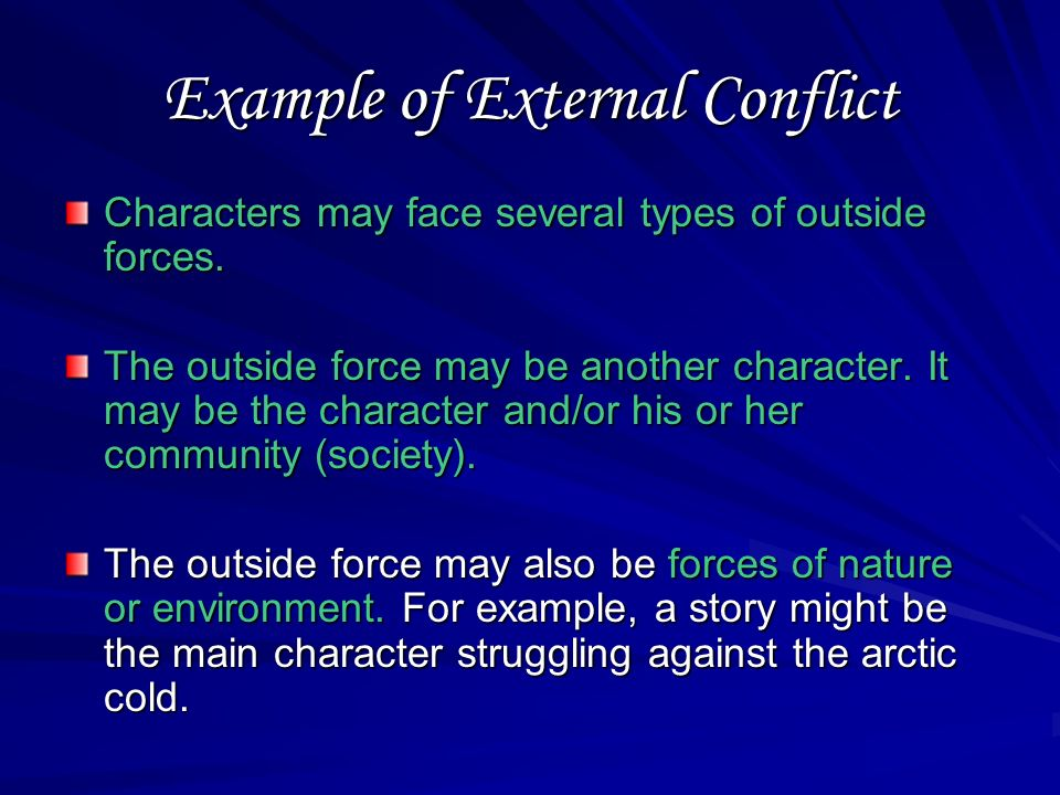 External Conflict Definition: A struggle between a character and an outside force is an external conflict.