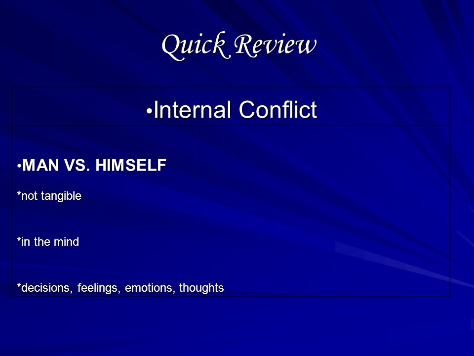 External Conflict Self-Check Question 4: A conflict cannot be categorized as man vs. man when: a.the struggle is with more than 1 the struggle is with