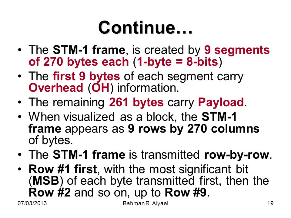 07/03/2013Bahman R. Alyaei19 Continue… The STM-1 frame, is created by 9 segments of 270 bytes each (1-byte = 8-bits) The first 9 bytes of each segment
