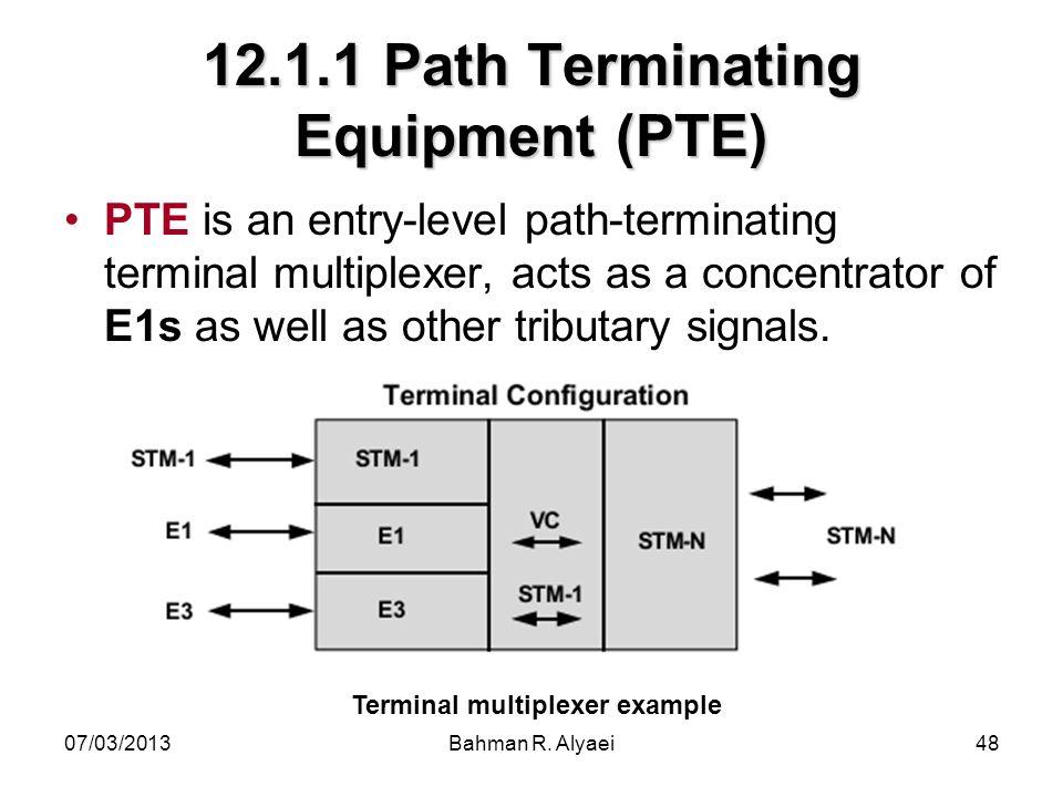 07/03/2013Bahman R. Alyaei48 12.1.1 Path Terminating Equipment (PTE) PTE is an entry-level path-terminating terminal multiplexer, acts as a concentrat