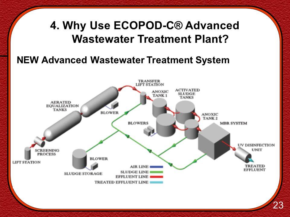 22 4. Why Use ECOPOD-C® Advanced Wastewater Treatment Plant? NEW Advanced Wastewater Treatment System Exceptional, High Quality Effluent Minimal Sludg