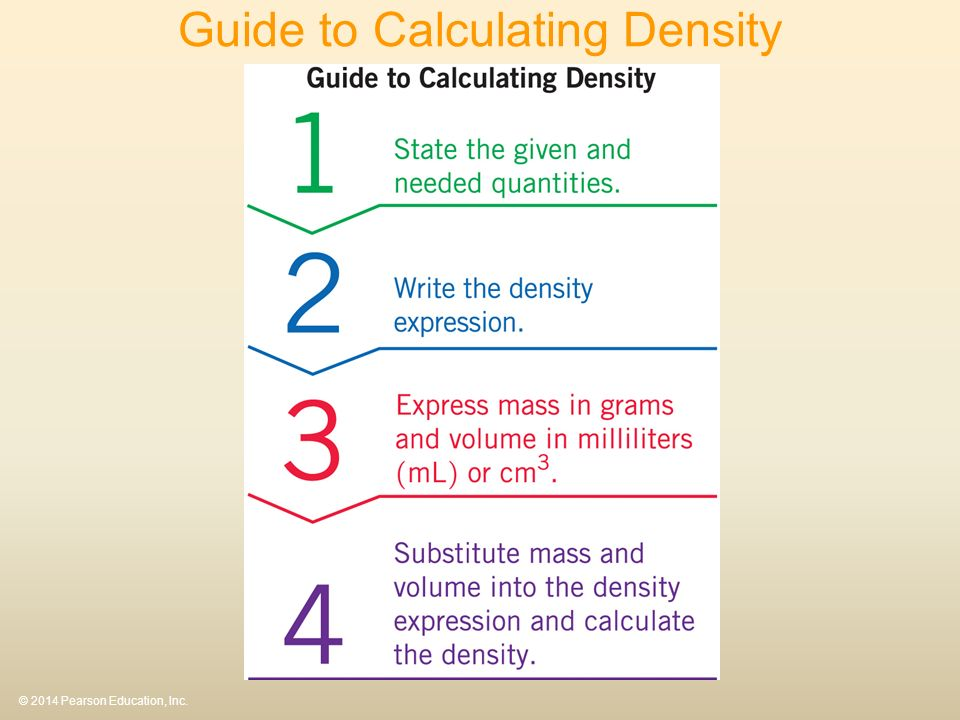 © 2014 Pearson Education, Inc. Guide to Calculating Density