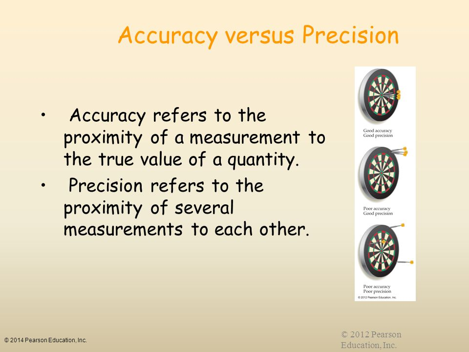 © 2014 Pearson Education, Inc. © 2012 Pearson Education, Inc. Accuracy versus Precision Accuracy refers to the proximity of a measurement to the true