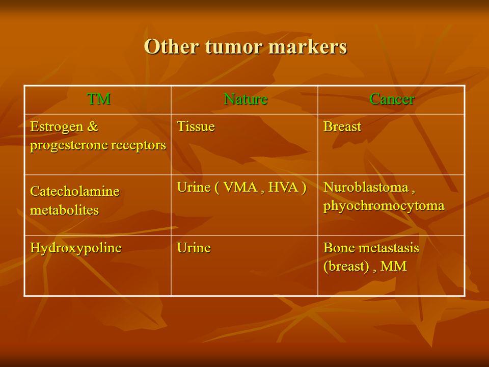 Other tumor markers CancerNatureTM BreastTissue Estrogen & progesterone receptors Nuroblastoma, phyochromocytoma Urine ( VMA, HVA ) Catecholamine meta