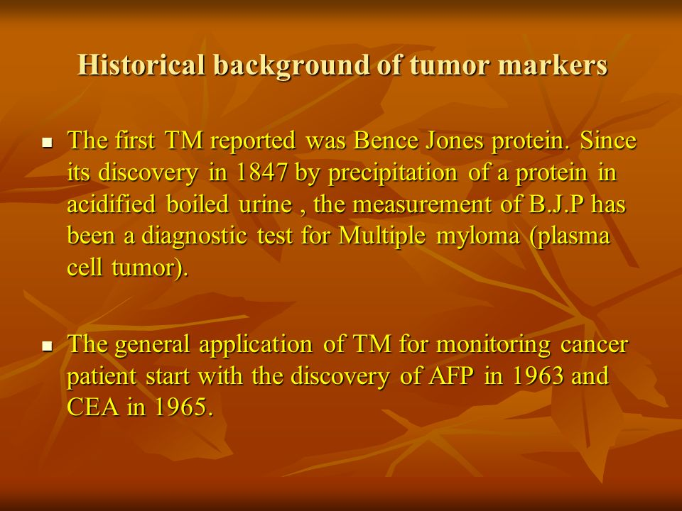 Definition of TM A substance produced or induced by tumor cells and released into blood, body fluids or expressed on cell surface, that can be used to differentiate a tumor from normal tissue or to determine the presence of a tumor.