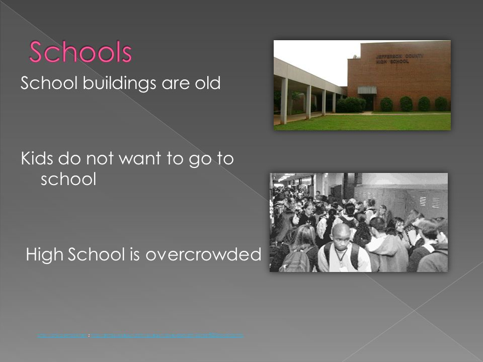 School buildings are old Kids do not want to go to school High School is overcrowded http://jchs.jc-schools.net/http://jchs.jc-schools.net/ ; http://e