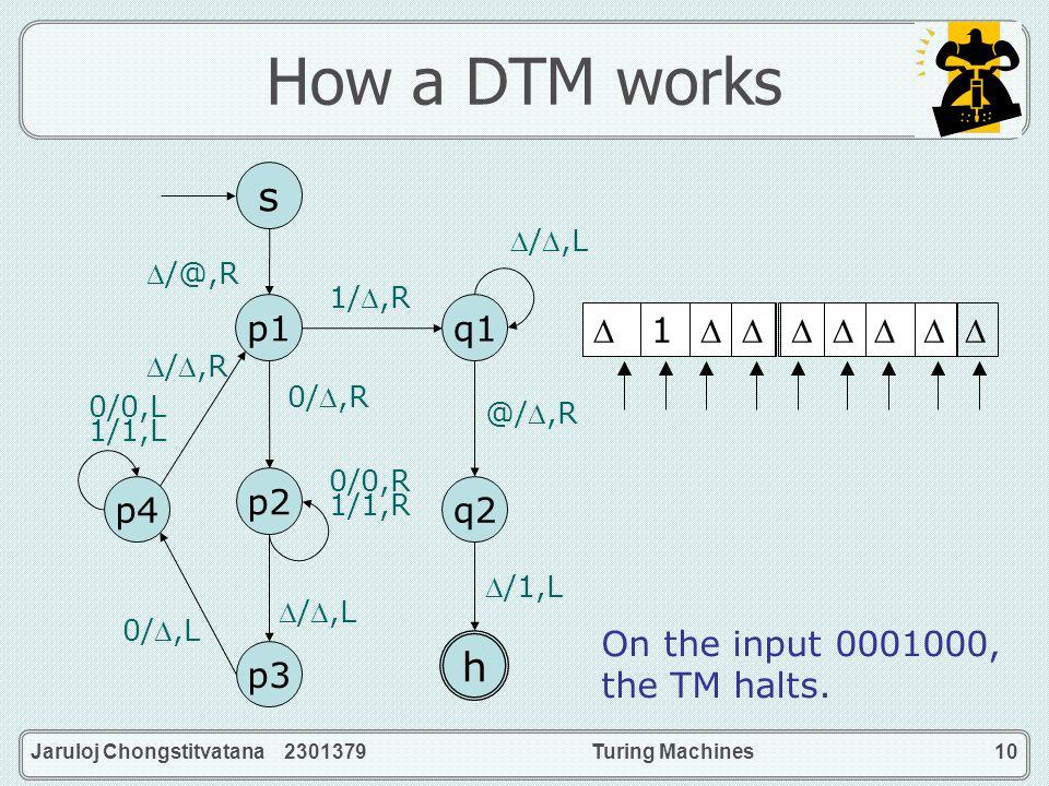 Jaruloj Chongstitvatana 2301379Turing Machines10 How a DTM works 1/,R q2 h q1 /1,L @/,R /,L s p1 p4 p2 p3 /@,R 0/,R 0/0,R 1/1,R /,L 0/,L 0/0,L 1/1,L /