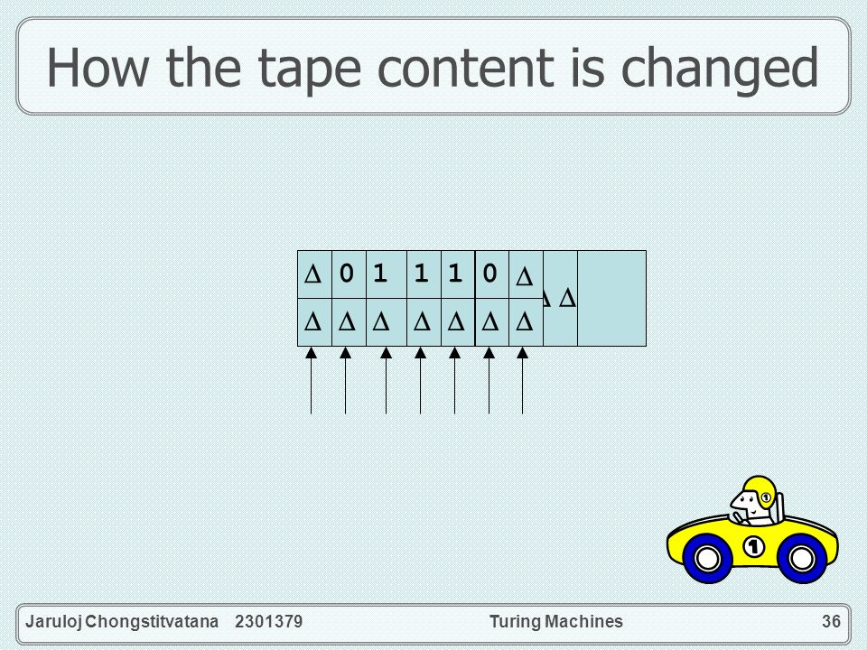 Jaruloj Chongstitvatana 2301379Turing Machines36 How the tape content is changed 0 1 1 1 0 1 1 1 0 0