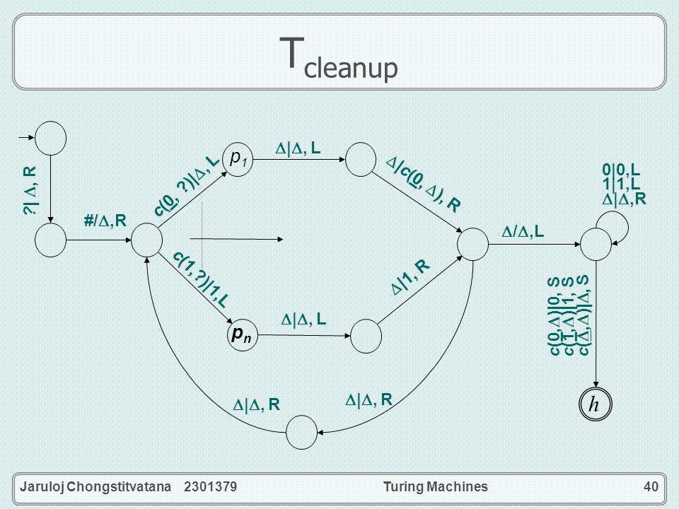 Jaruloj Chongstitvatana 2301379Turing Machines40 T cleanup pnpn p1 p1 c(0, ) 0, S c(1, ) 1, S c(, ) , S c(0, ?) , L  , L #/,R ? , R  c(0, ), R  , L  1