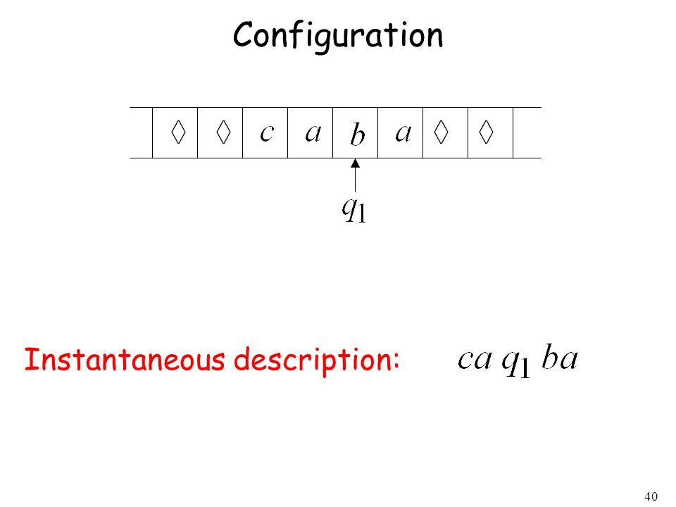 40 Configuration Instantaneous description: