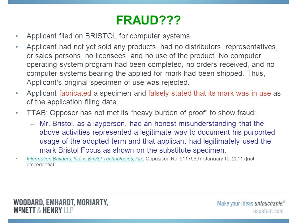 FRAUD??? Applicant filed on BRISTOL for computer systems Applicant had not yet sold any products, had no distributors, representatives, or sales perso