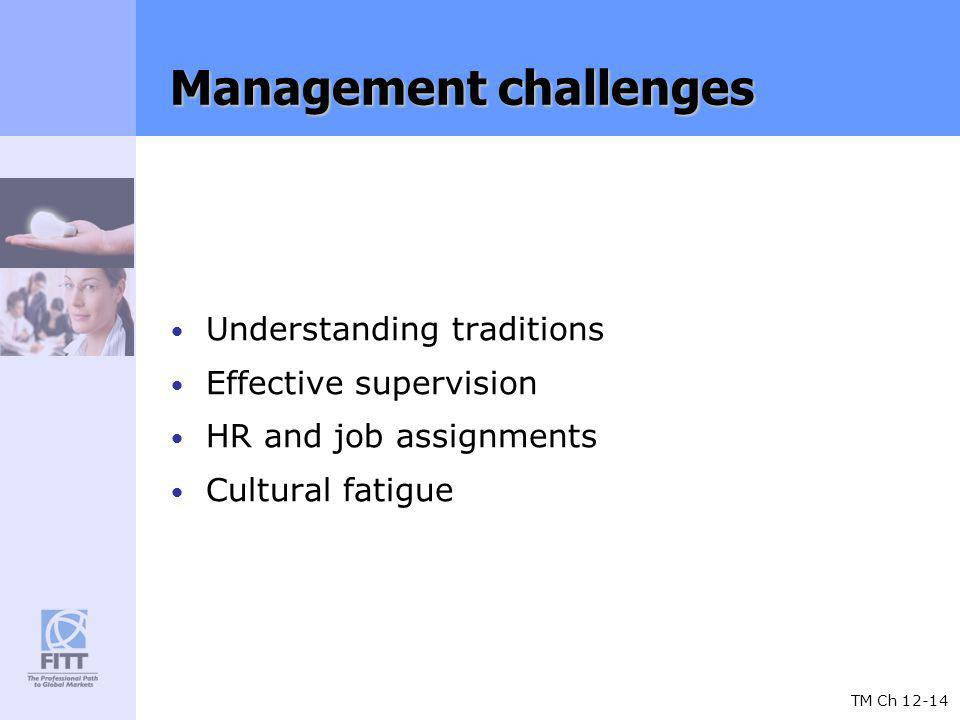 TM Ch 12-14 Management challenges Understanding traditions Effective supervision HR and job assignments Cultural fatigue