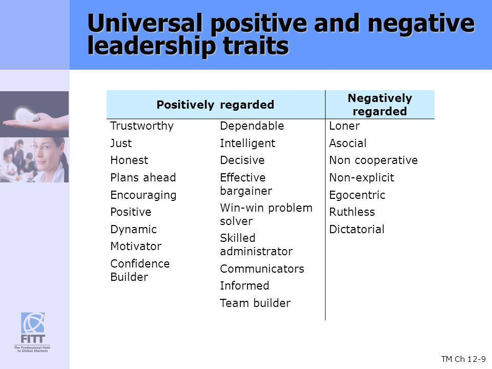 TM Ch 12-9 Universal positive and negative leadership traits Positively regarded Negatively regarded Trustworthy Just Honest Plans ahead Encouraging Positive Dynamic Motivator Confidence Builder Dependable Intelligent Decisive Effective bargainer Win-win problem solver Skilled administrator Communicators Informed Team builder Loner Asocial Non cooperative Non-explicit Egocentric Ruthless Dictatorial