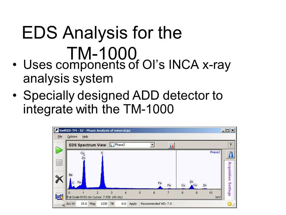 EDS Analysis for the TM-1000 Uses components of OIs INCA x-ray analysis system Specially designed ADD detector to integrate with the TM-1000