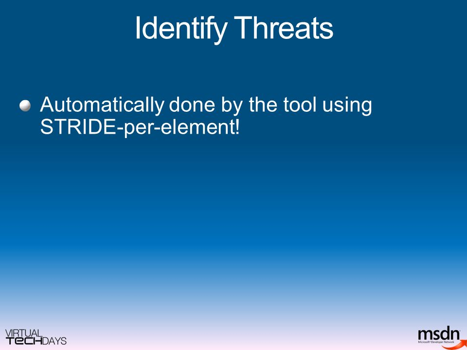 Identify Threats Automatically done by the tool using STRIDE-per-element!