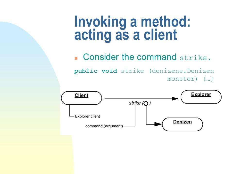 Invoking a method: acting as a client Consider the command strike. public void strike (denizens.Denizen monster) {…}
