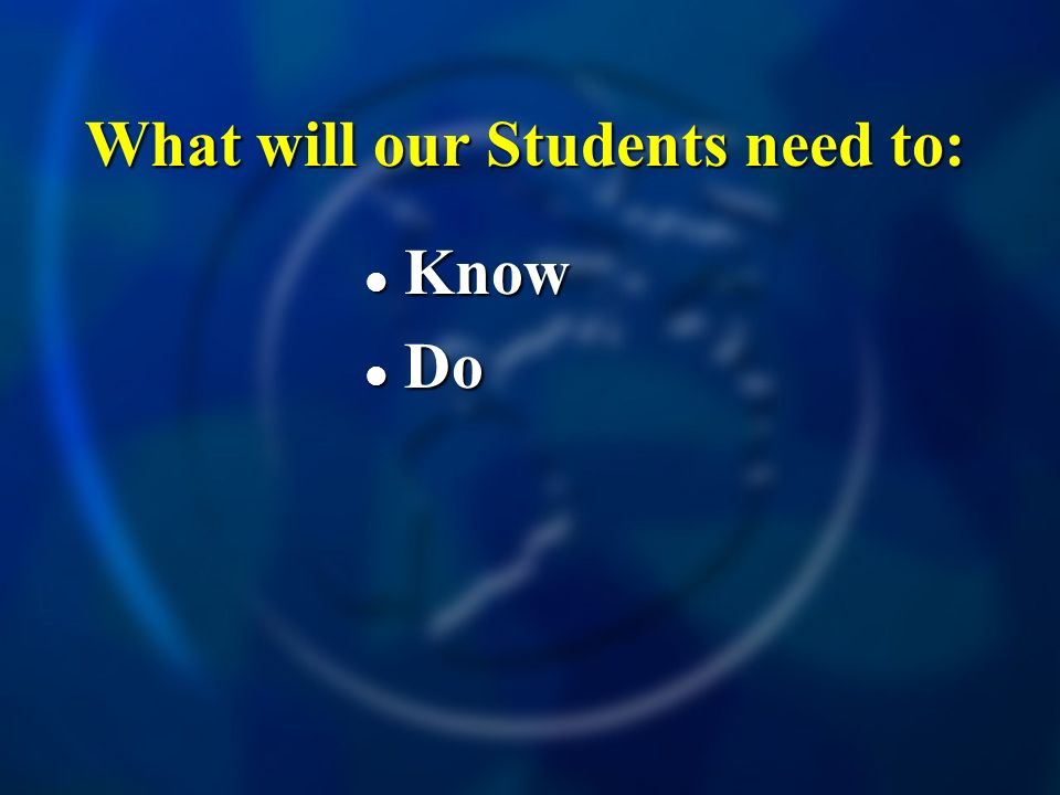 What will our Students need to: Know Know Do Do