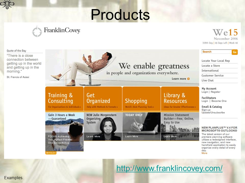 Products Examples http://www.franklincovey.com/