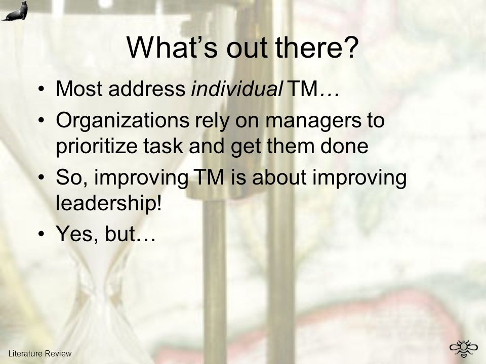 Whats out there? Most address individual TM… Organizations rely on managers to prioritize task and get them done So, improving TM is about improving l