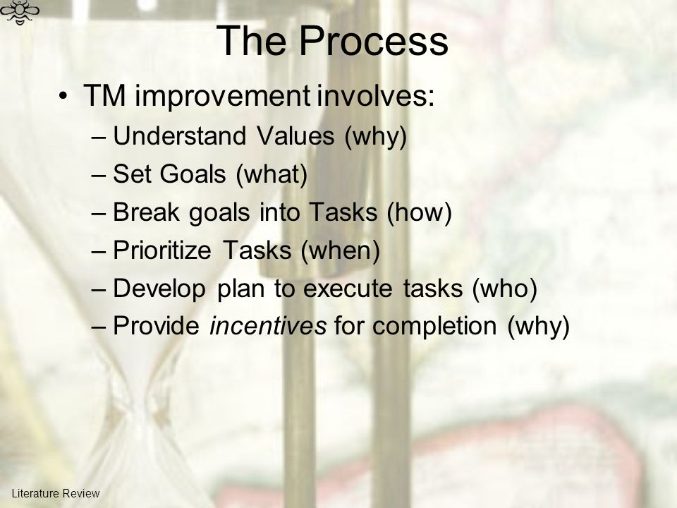 The Process TM improvement involves: –Understand Values (why) –Set Goals (what) –Break goals into Tasks (how) –Prioritize Tasks (when) –Develop plan t