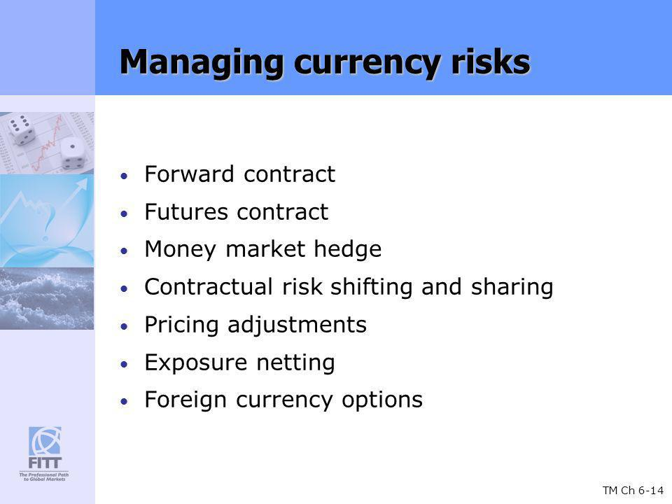 TM Ch 6-14 Managing currency risks Forward contract Futures contract Money market hedge Contractual risk shifting and sharing Pricing adjustments Exposure netting Foreign currency options
