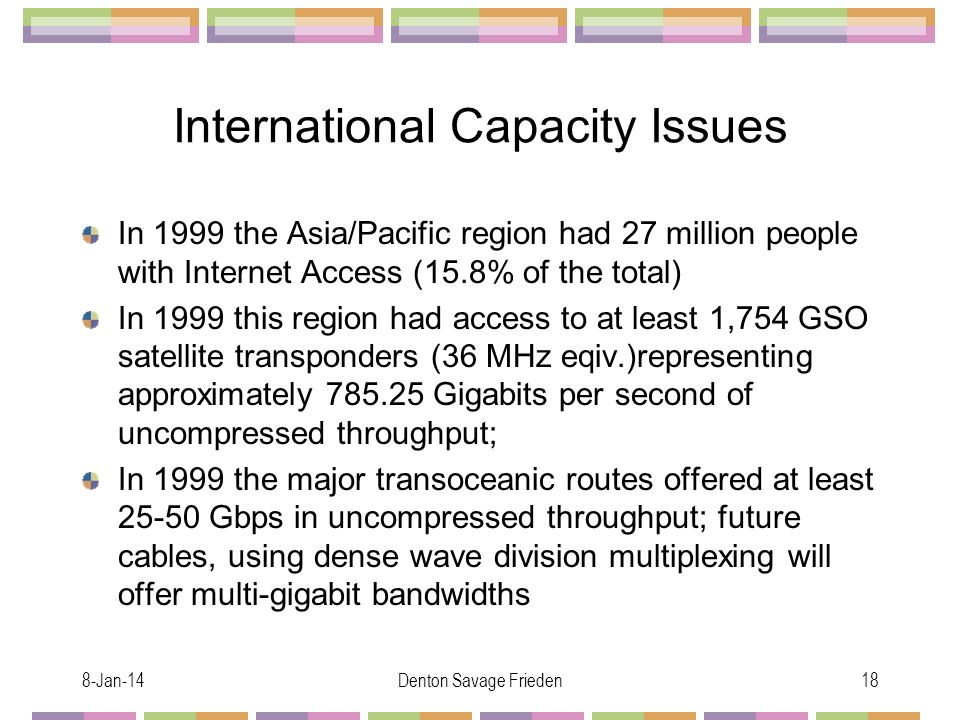 8-Jan-14Denton Savage Frieden18 International Capacity Issues In 1999 the Asia/Pacific region had 27 million people with Internet Access (15.8% of the total) In 1999 this region had access to at least 1,754 GSO satellite transponders (36 MHz eqiv.)representing approximately Gigabits per second of uncompressed throughput; In 1999 the major transoceanic routes offered at least Gbps in uncompressed throughput; future cables, using dense wave division multiplexing will offer multi-gigabit bandwidths