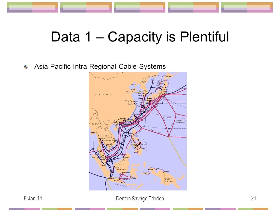 8-Jan-14Denton Savage Frieden21 Data 1 – Capacity is Plentiful Asia-Pacific Intra-Regional Cable Systems