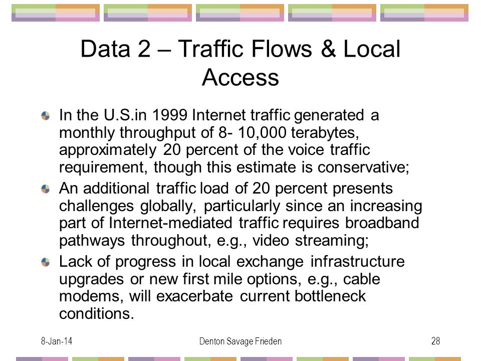 8-Jan-14Denton Savage Frieden28 Data 2 – Traffic Flows & Local Access In the U.S.in 1999 Internet traffic generated a monthly throughput of 8- 10,000 terabytes, approximately 20 percent of the voice traffic requirement, though this estimate is conservative; An additional traffic load of 20 percent presents challenges globally, particularly since an increasing part of Internet-mediated traffic requires broadband pathways throughout, e.g., video streaming; Lack of progress in local exchange infrastructure upgrades or new first mile options, e.g., cable modems, will exacerbate current bottleneck conditions.