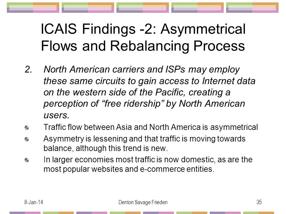 8-Jan-14Denton Savage Frieden35 ICAIS Findings -2: Asymmetrical Flows and Rebalancing Process 2.North American carriers and ISPs may employ these same circuits to gain access to Internet data on the western side of the Pacific, creating a perception of free ridership by North American users.