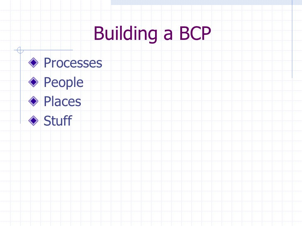 Building a BCP Processes People Places Stuff