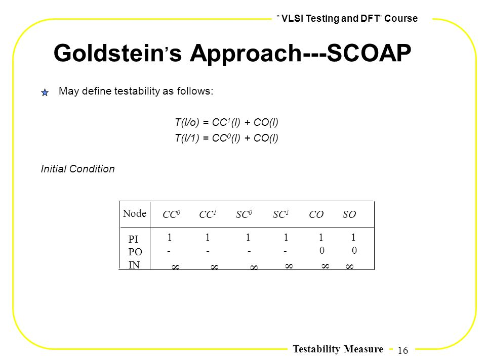 16,, VLSI Testing and DFT,, Course Testability Measure Goldstein, s Approach---SCOAP May define testability as follows: T(l/o) = CC 1 (l) + CO(l) T(l/