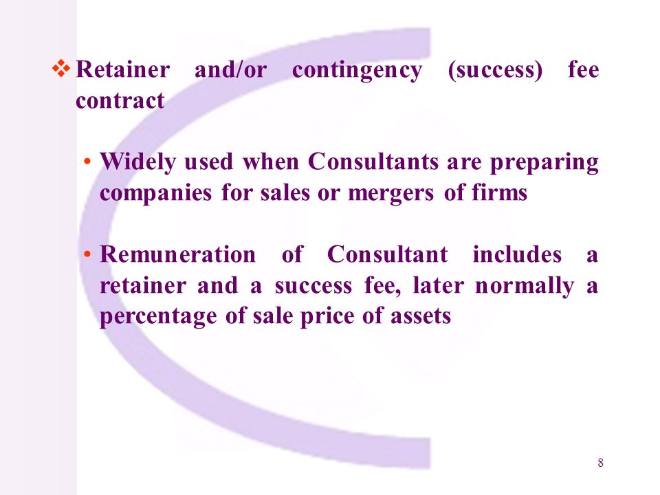 9 Indefinite delivery contract (Price Agreement) Used when client needs specialized services to provide advice on a particular activity, extent and timing cannot be defined in advance Commonly used to retain Advisers for implementation of complex projects, Experts for dispute resolution, procurement advice, O&M and so on Client and Consultant agree on unit rate and Consultant is paid on basis of time actually used Consultant is selected based on unit rate quoted by them for providing services