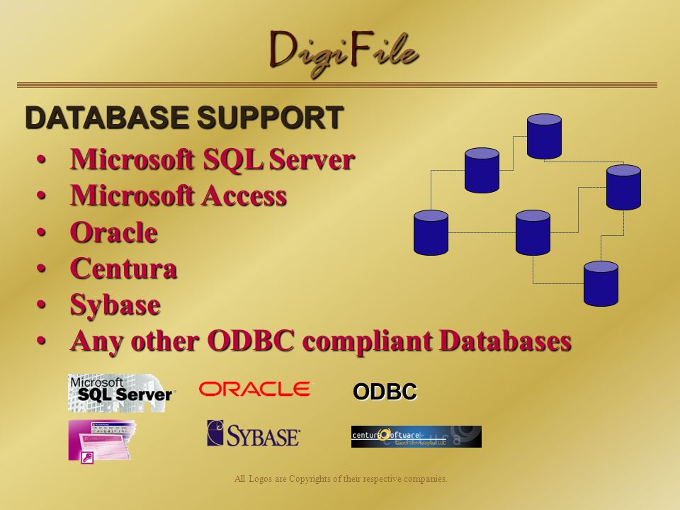 D igi F ile DATABASE SUPPORT Microsoft SQL ServerMicrosoft SQL Server Microsoft AccessMicrosoft Access OracleOracle CenturaCentura SybaseSybase Any other ODBC compliant DatabasesAny other ODBC compliant Databases All Logos are Copyrights of their respective companies.