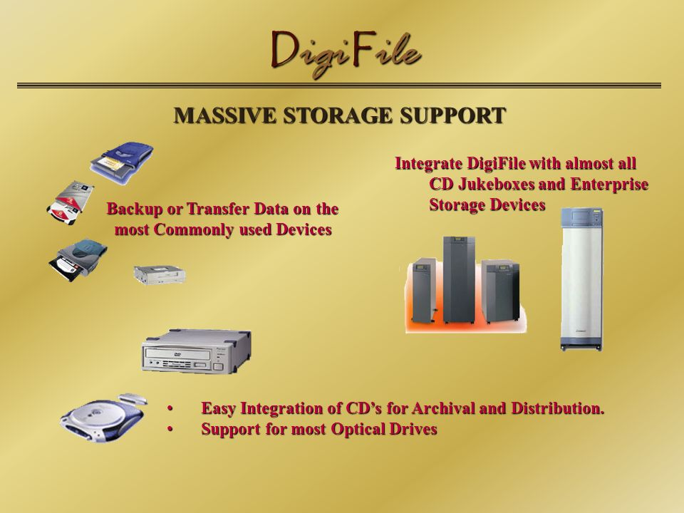 D igi F ile MASSIVE STORAGE SUPPORT Backup or Transfer Data on the most Commonly used Devices Easy Integration of CDs for Archival and Distribution.Easy Integration of CDs for Archival and Distribution.