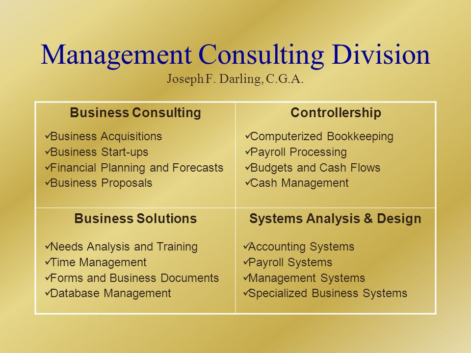 Business ConsultingControllership Business SolutionsSystems Analysis & Design Business Acquisitions Business Start-ups Financial Planning and Forecasts Business Proposals Computerized Bookkeeping Payroll Processing Budgets and Cash Flows Cash Management Needs Analysis and Training Time Management Forms and Business Documents Database Management Accounting Systems Payroll Systems Management Systems Specialized Business Systems Management Consulting Division Joseph F.