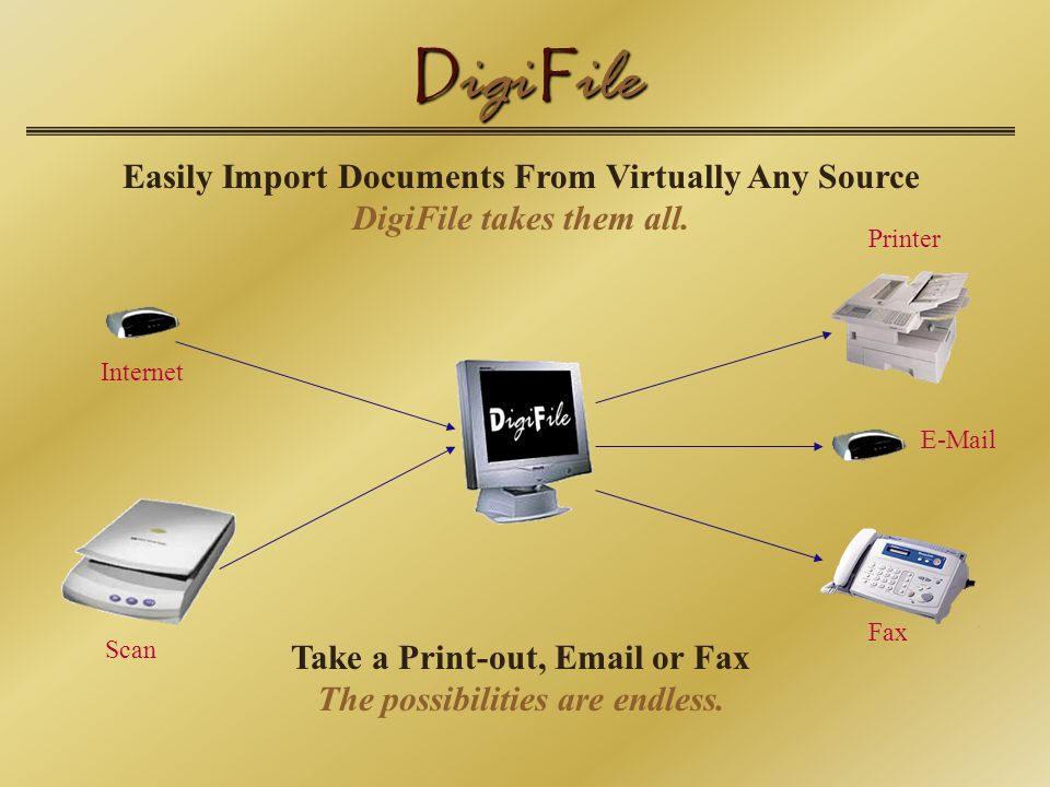 D igi F ile Easily Import Documents From Virtually Any Source DigiFile takes them all.